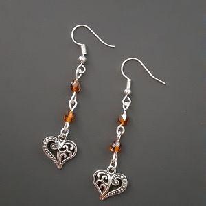 Pretty Brown Beaded Heart Dangle Earrings